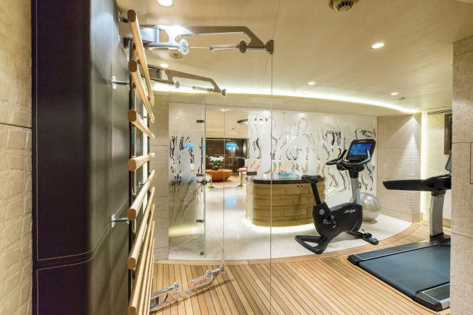 onboard gymnasium and spa