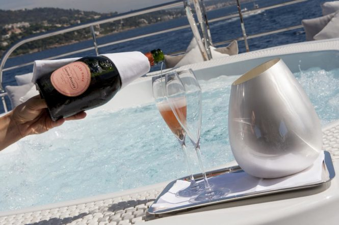 Champagne by the Jacuzzi aboard 4YOU