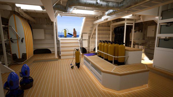DAMEN superyacht support vessel POWER PLAY-Aft Adventure Centre and Dive Centre