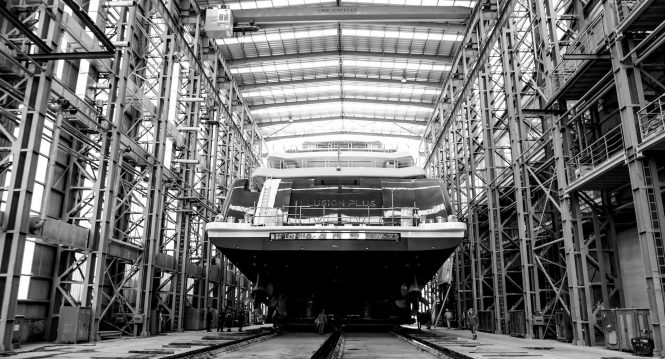ILLUSION PLUS mega yacht by PMY getting ready for launch - Credit Pride Mega Yachts