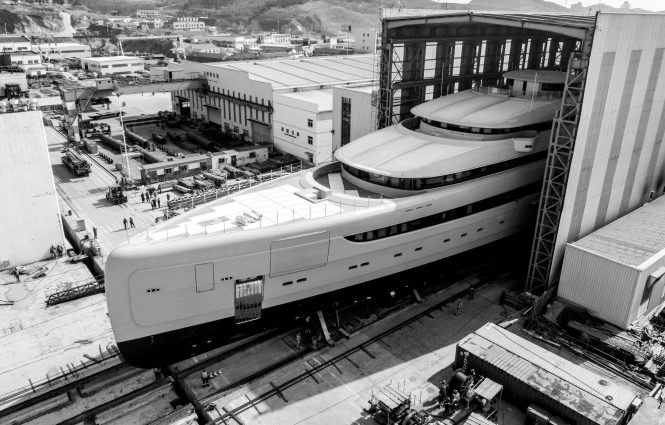 ILLUSION PLUS mega yacht ready for launch - credit PMY