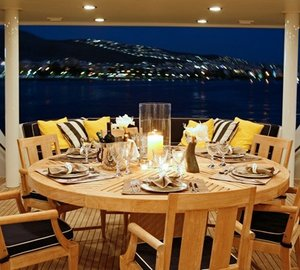 Evening: Yacht ENDLESS SUMMER's Premier Deck Eating/dining Pictured