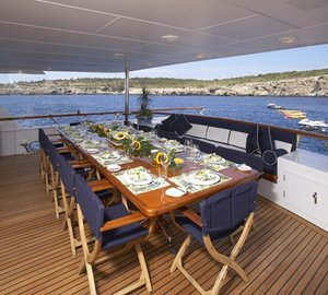 Eating/dining: Yacht TELEOST's Aft Deck Captured