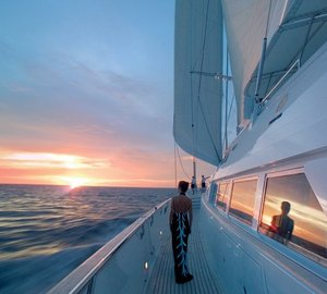 Sunset Dusk On Yacht SPIRIT OF THE C'S
