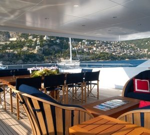Covered Sitting Zone On Yacht OXYGEN