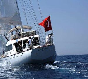 Sailing yacht GLORIOUS -  Aft View