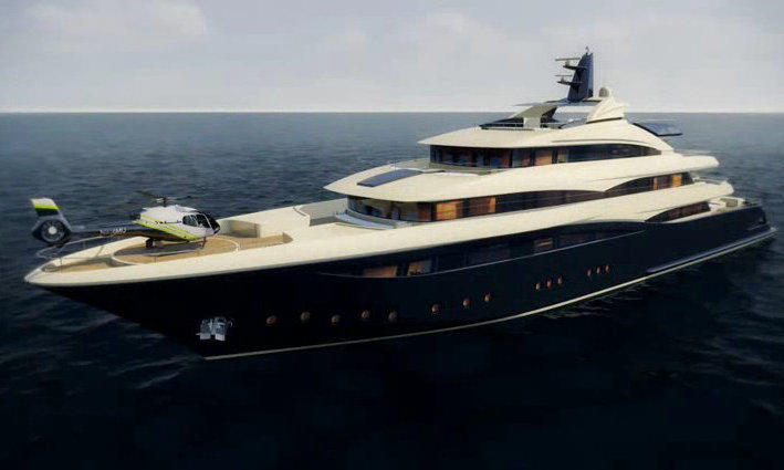 Rendering of the 74m megayacht CRN 131 by CRN Yachts and Studio Zuccon