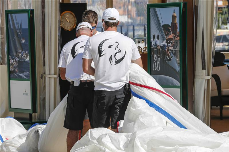 Crew members of Lupa of London yacht during sail measurement on Piazza Azzurra