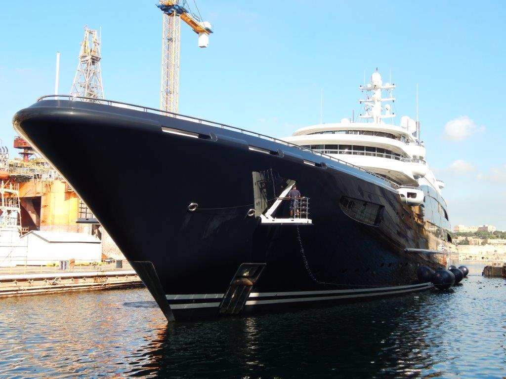 134m Fincantieri motor yacht Serene at the Palumbo Super Yachts facilit in Malta