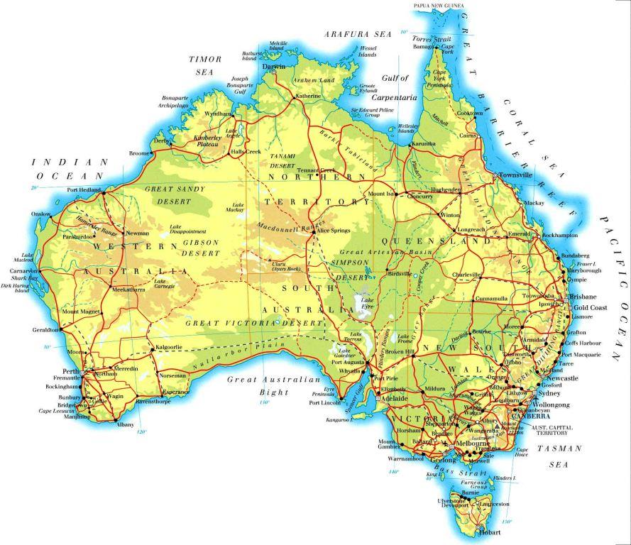 australia yacht charter area map
