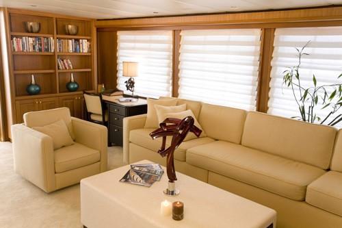 Portside Saloon Including Work Desk Aboard Yacht SILENT WORLD II
