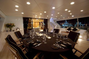 Night Time Eating/dining Aboard Yacht WILD THYME