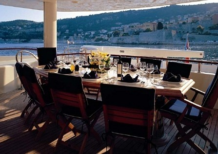 Top Deck Eating/dining Zone On Yacht BLUE BREEZE