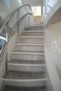 Exterior Staircase To Top Deck Aboard Yacht BLUE BREEZE