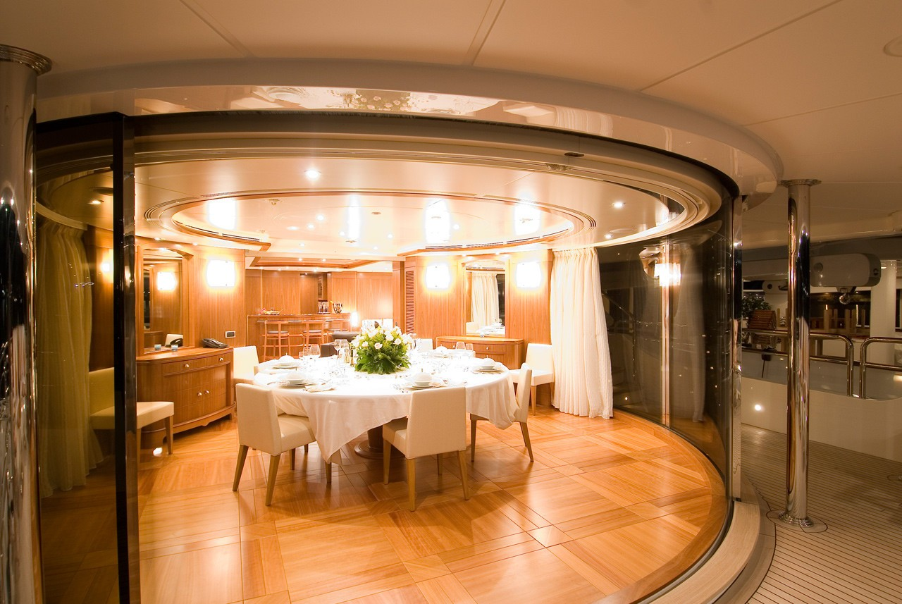 Top Deck Eating/dining Zone On Yacht BLUE VISION