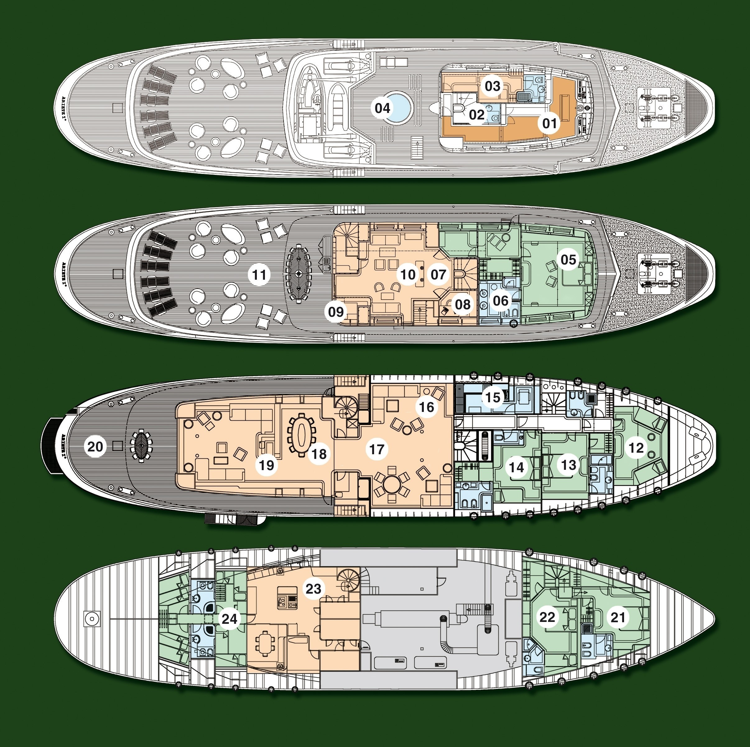 Deck Plans / Map Aboard Yacht ARIETE PRIMO