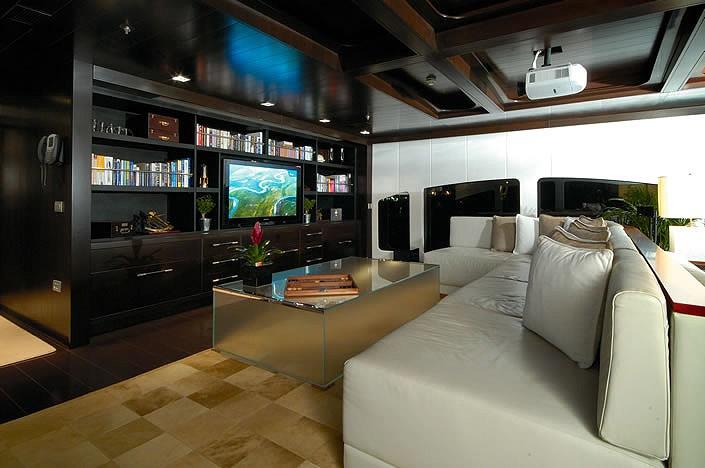 Bridgedeck Deck Saloon Television On Yacht FATHOM