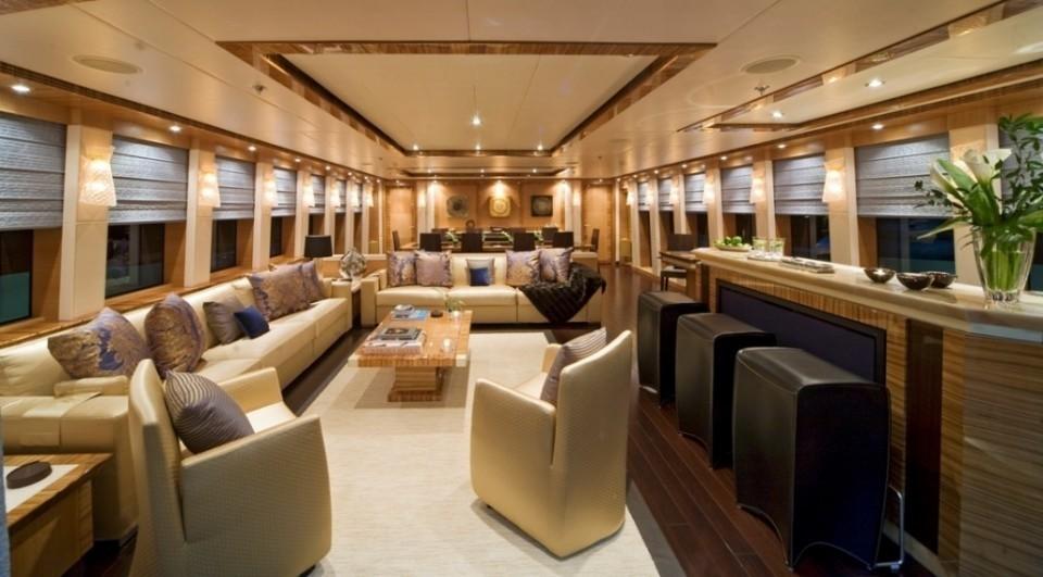 Saloon With Drinks Bar On Board Yacht HOKULANI