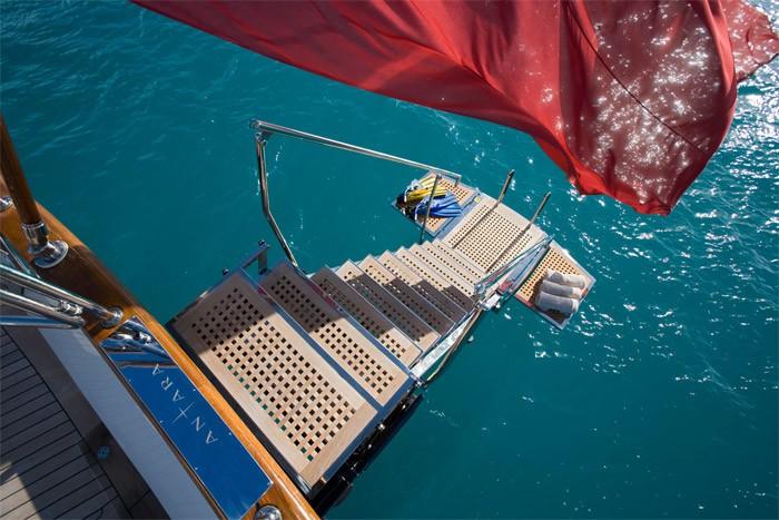 Above: Yacht ANTARA's Swimming Landing Photograph