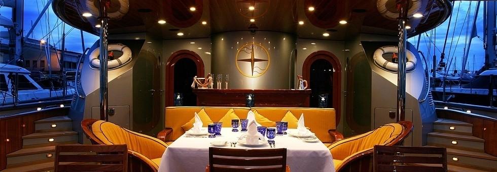 Evening: Yacht ANDROMEDA LA DEA's External Eating/dining Image