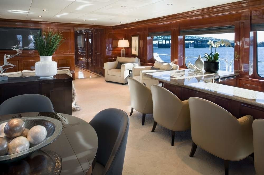 Premier Saloon With Drinks Bar On Board Yacht NO COMMENT