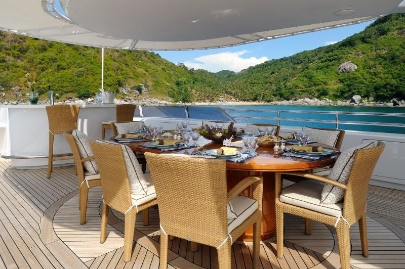 Sun Deck Eating/dining Aboard Yacht OASIS
