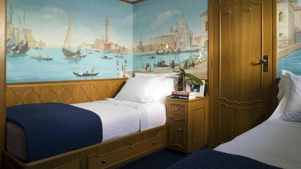 Blue: Yacht AUDACIA's Twin Bed Cabin Captured