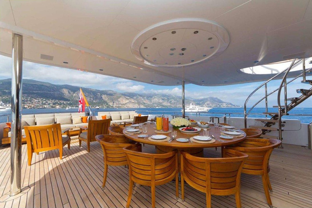 Top Aft Deck Eating/dining On Yacht HANIKON