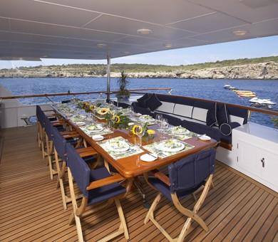 Eating/dining: Yacht TELEOST's Aft Deck Captured