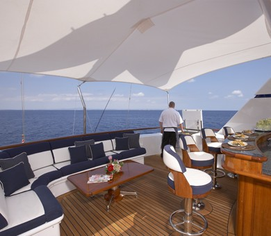Top Deck With Drinks Bar On Board Yacht TELEOST