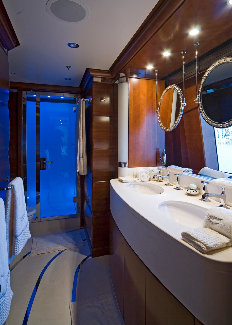 blue guest suite bathroom