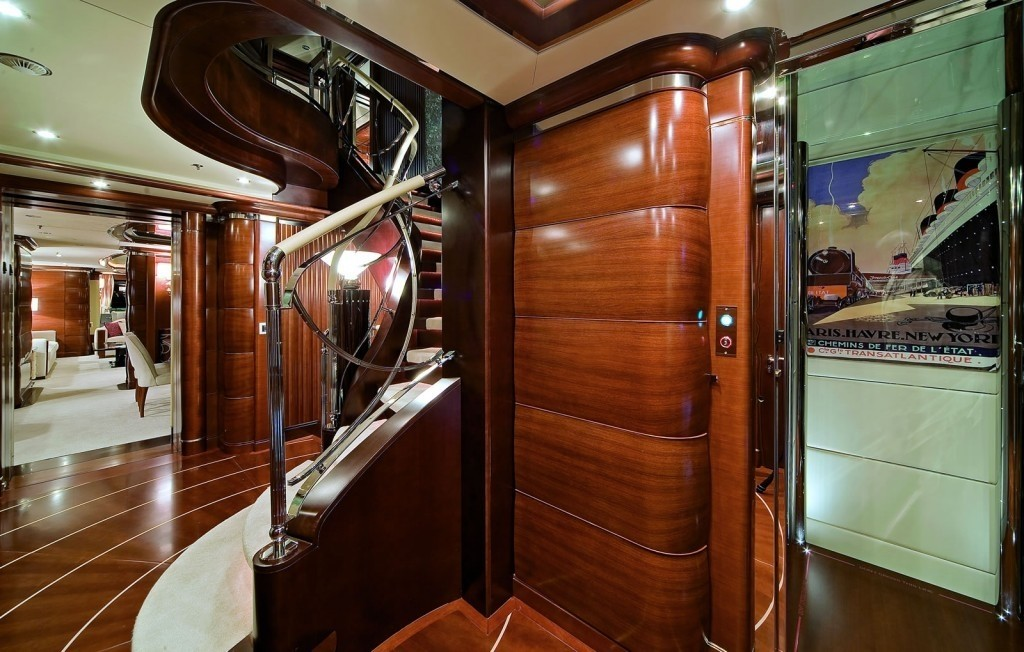 elevator connecting the decks
