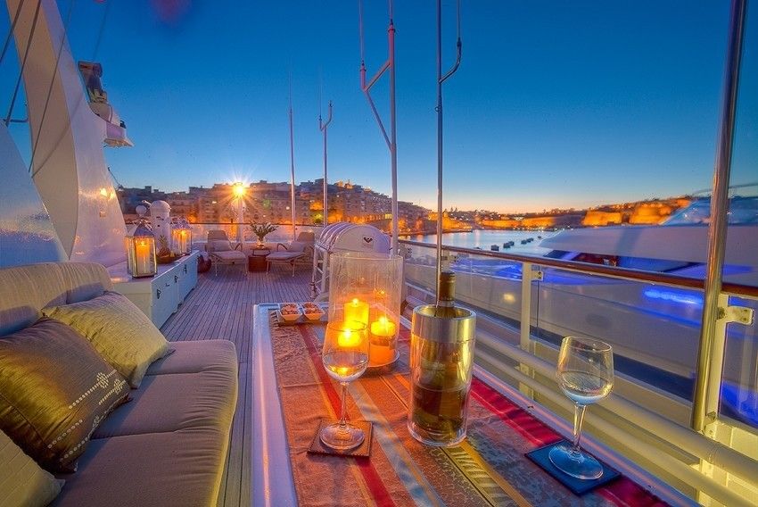 Deck Sitting Evening On Yacht SANSSOUCI STAR