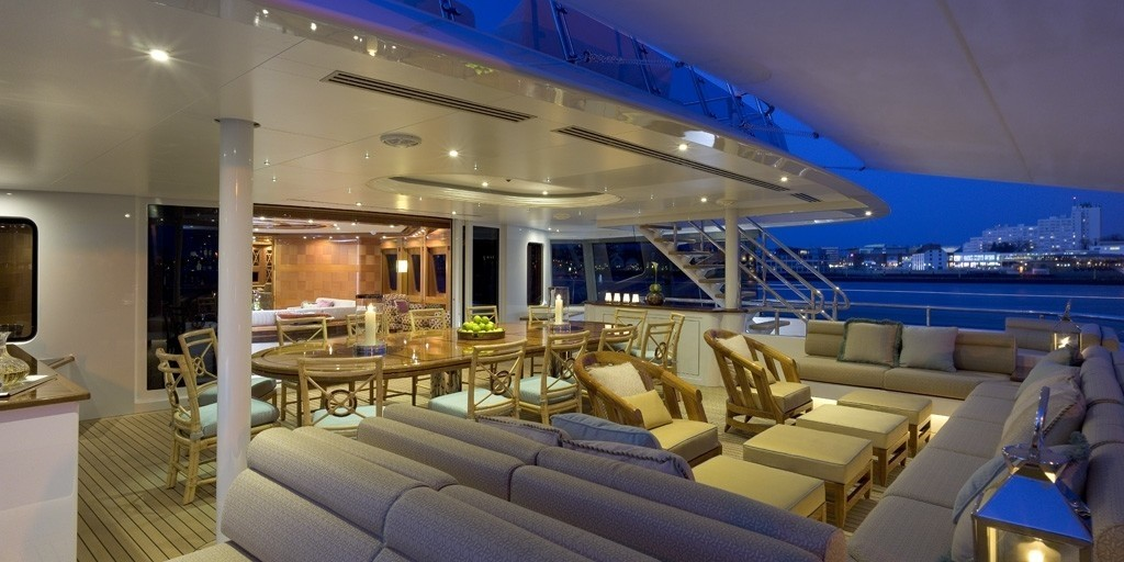 bridge deck aft dining area by night