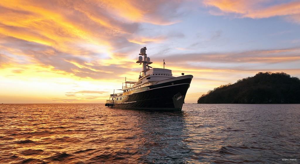 Sunset Dusk: Yacht SEAWOLF's Forward Aspect Photograph