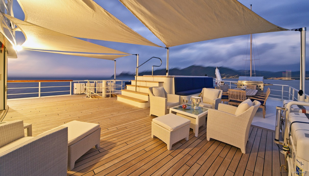 Sunset Dusk: Yacht SEAWOLF's Top Deck Image