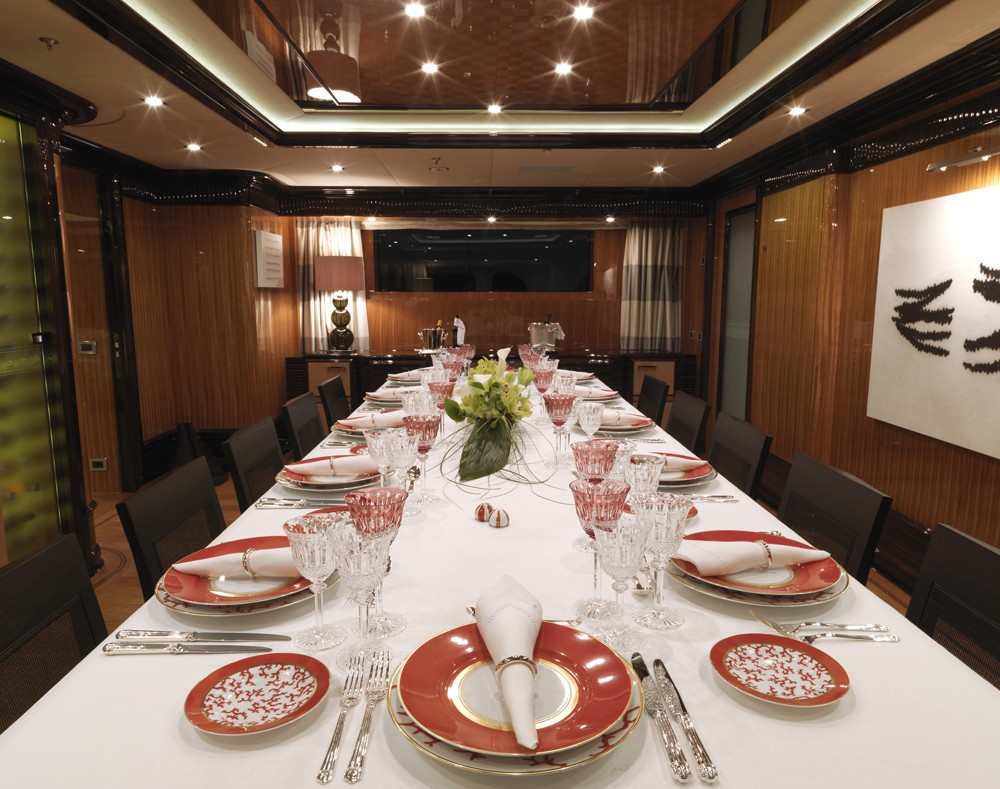 main formal dining area on the main deck - luxury meal setting