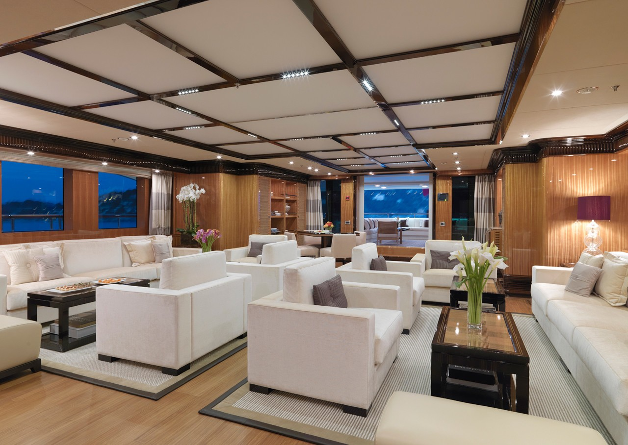 main saloon seating areas with comfortable couches and coffee tables