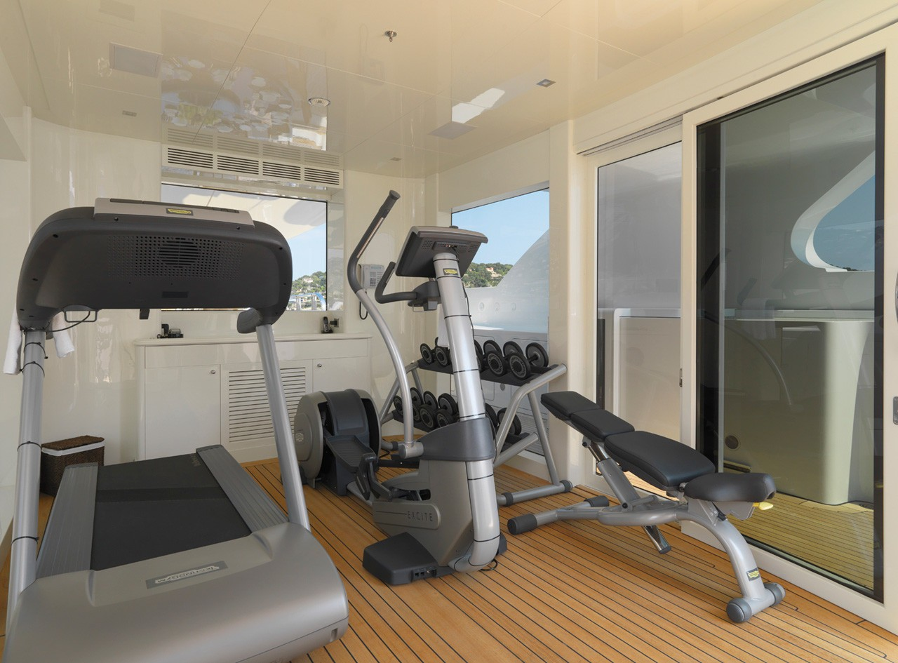 onboard gymnasium located on the sun deck
