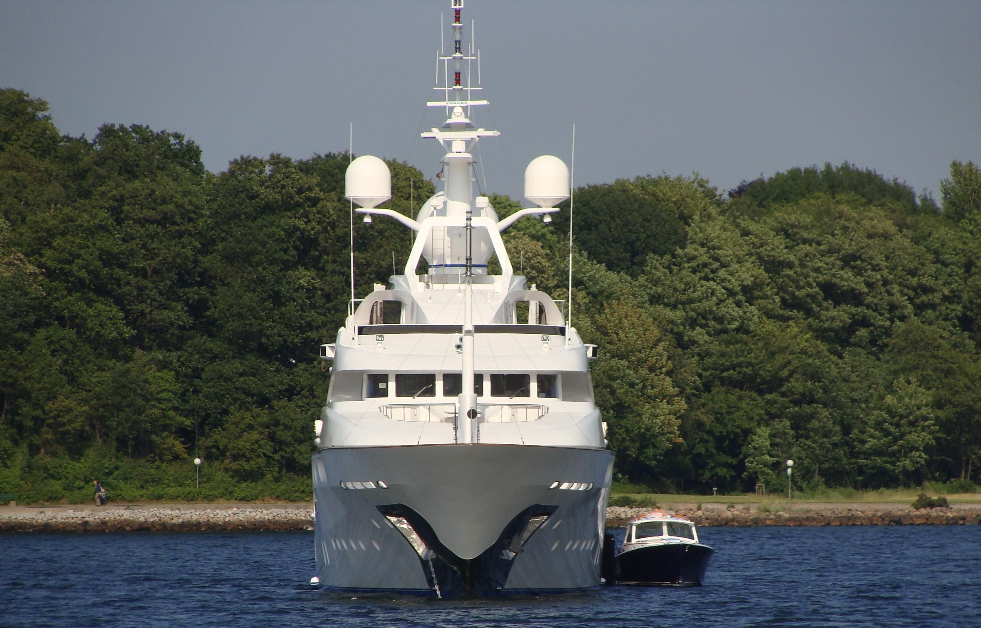 Forward Aspect Including Ship's Tender On Yacht STARFIRE