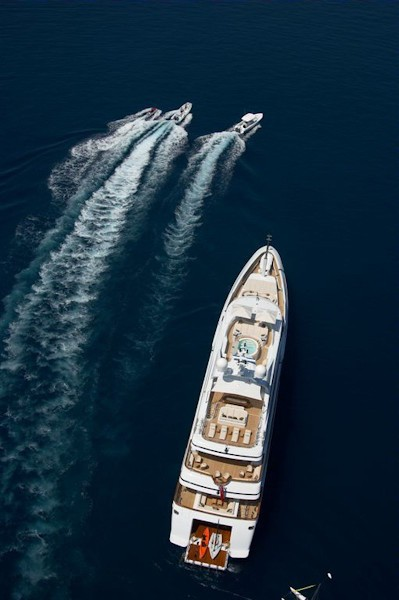 From Above Aspect Including Ship's Tenders On Board Yacht ANDREAS L
