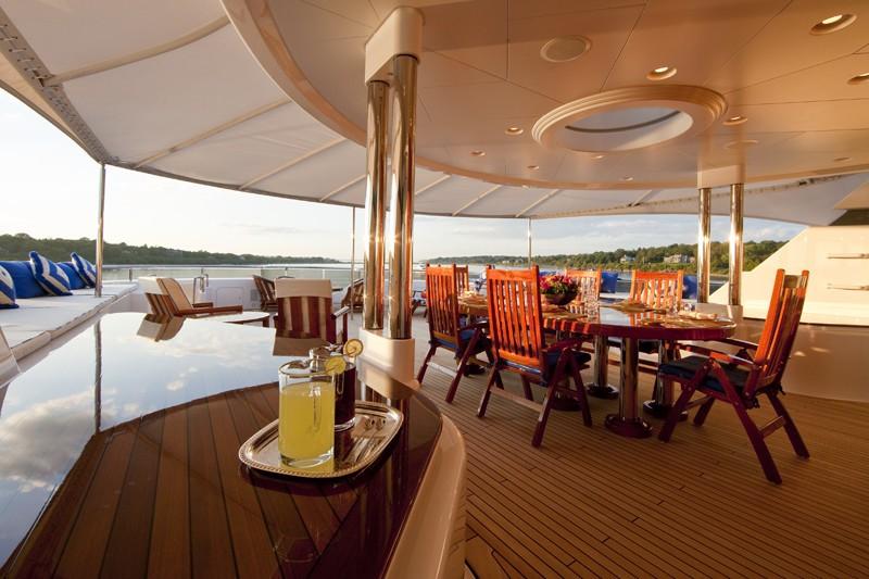 Sun Deck Aft Eating/dining Aboard Yacht BLUE MOON