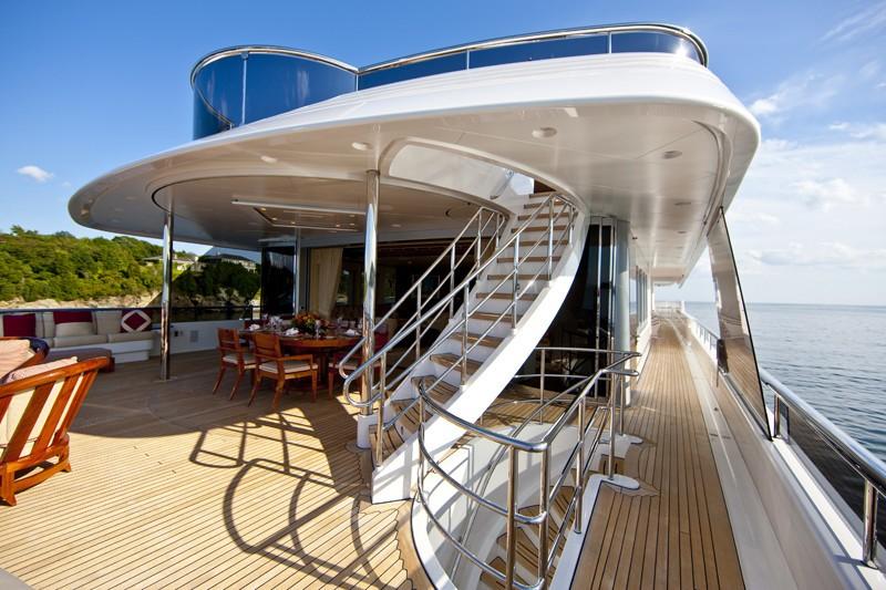 Deck Stairway On Board Yacht BLUE MOON