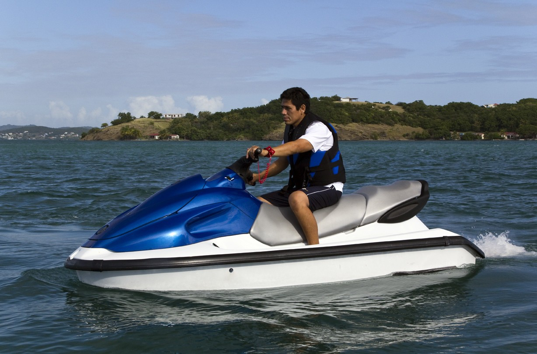 Jetski Skiing Aboard Yacht BLUE MOON