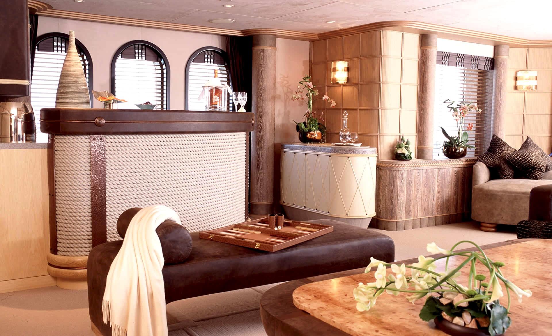 Top Deck Living Area Drinks Bar Aboard Yacht CALYPSO