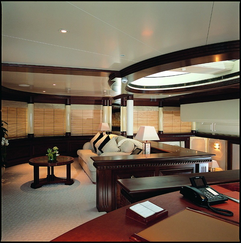 Office With Lounging: Yacht CALYPSO's Main Master Cabin Pictured