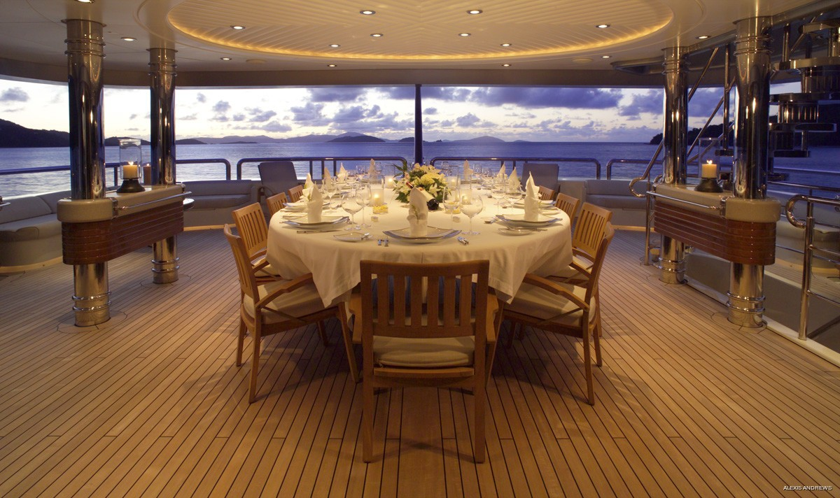 Aft Top Deck Eating/dining Aboard Yacht CALYPSO