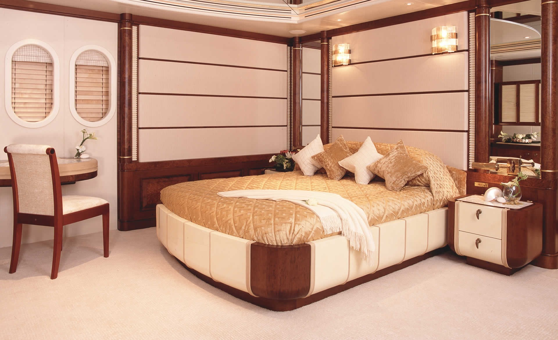 Bunk Berth Closed: Yacht CALYPSO's Lower Deck Cabin Photograph