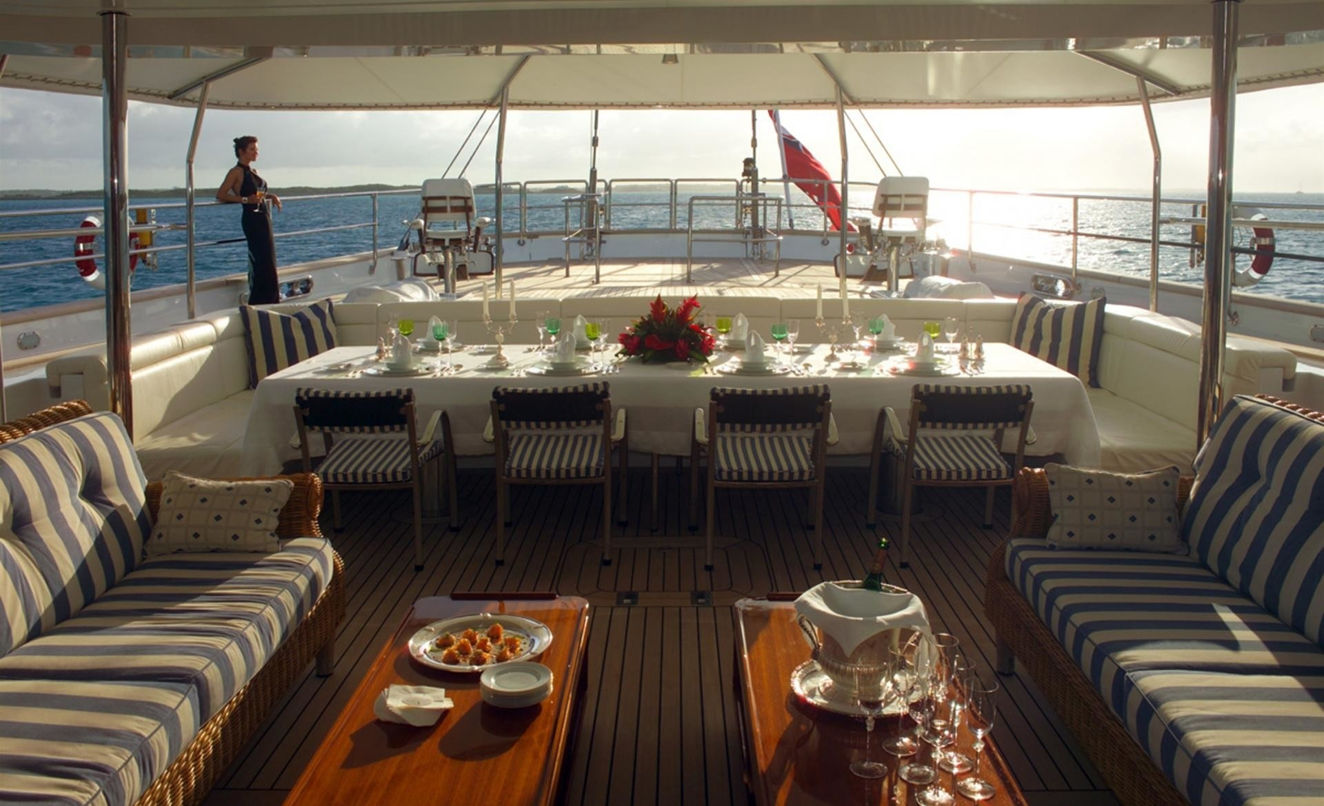 Aft Deck Sitting On Board Yacht SPIRIT OF THE C'S