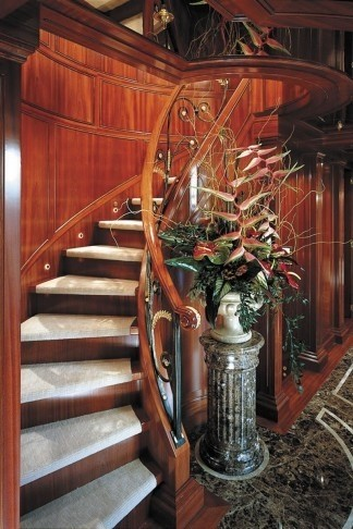 Lower Grand Stairway On Yacht APOGEE